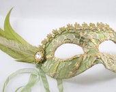 Peridot and Gold Royal Lace Masquerade Mask