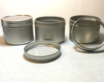 Round Tin with Clear Lid - 4 ounces Circle Food Grade and Seamless - Use for your Pendants Magnets and other Gifts Favors and Goodies - 50
