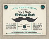 Wig and Stache Birthday party Invitation