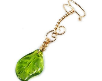 Gold Ear Cuff with Green Glass Leaf Charm - Left or Right Ear
