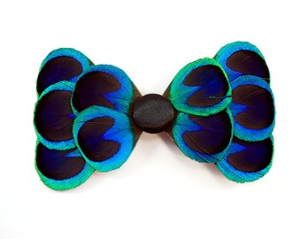 Eloquent - Peacock feather hair bow / Feather bow / Blue Peacock hair clip
