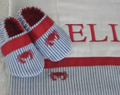 Custom order for Nora Dunne Gift set for baby boy - Burp Cloth and Shoes - seersucker/crab