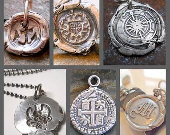 Handmade Mens Wax Seal Jewelry Silver Anchor Pendant
