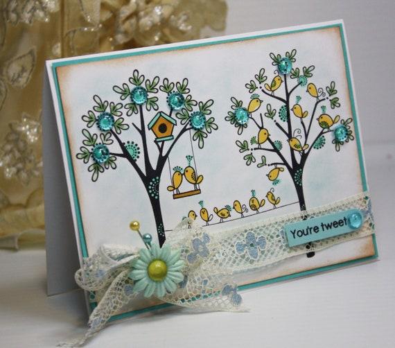 Handmade Card - Greeting Card - You're Tweet - Pink Cat Studio OOAK