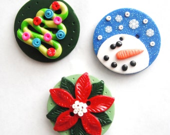 Biggy Buttons Christmas handmade polymer clay buttons ( 1 )