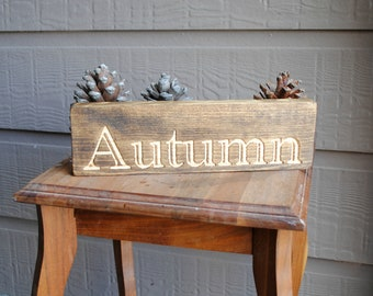 Autumn Carved Wood Sign - Reclaimed Wood