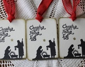 Nativity Christmas Gift Tag - Christus Natus Est - Set of Eight hand stamped from hand carved stamp