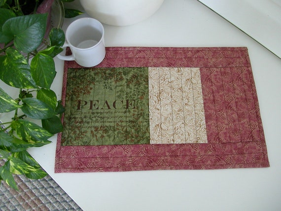 Quilted  PlaceMat FRUIT of the SPIRIT, PEACE  Scripture in Green Red and Cream