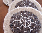 Embroidered Snowflake Wool Felt Ornament- Brown and Cream