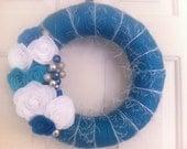 Handmade Yarn Holiday Wreath in Blue with Felt flowers-Hanukkah Wreath-12 in Wreath