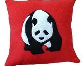 Panda cushion, red