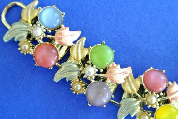 Vintage Moonglow Cabochons And Enamel Bracelet