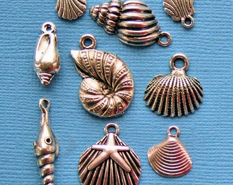 Seashell Charm Collection Antique  Silver Tone 9 Charms - COL125
