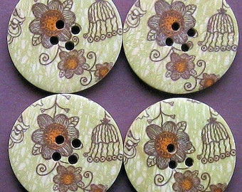 6 Large Wood Buttons Floral Designs 30mm BUT16