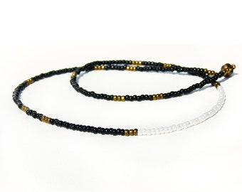 Black white beaded strand minimalist long  necklace Simple everyday jewelry. Color block Office fashion