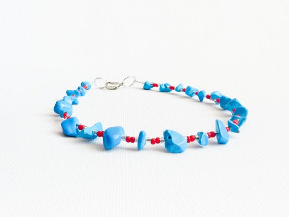 Tribal Turquoise red silver thin ankle bracelet. Bohemian Sexy foot jewelry