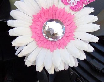 VW Beetle Flower -White and Pink Diamond Bling