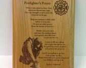 Firefighter's Prayer Plaque Laser Engraved