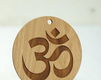 Wood Yoga Om Ornament Laser Engraved