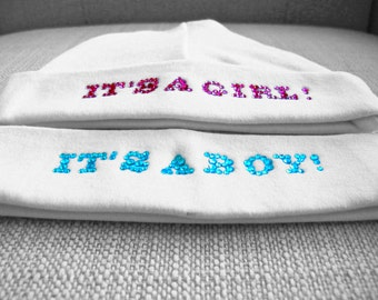Newborn hat, its a boy or girl photo prop with rhinestones