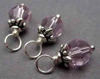 Light Amethyst Swarovski Crystals Wire Wrapped Dangle Birthstone Charms with Flower Leaf Bead Cap 6mm