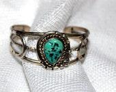 vintage turquoise bracelet  Navajo - natural  freeform cabochon