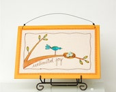baby nursery decor, joy, orange child's room decor, bird with nest, unique nursery art, for new mom READY TO SHIP by mamableudesigns