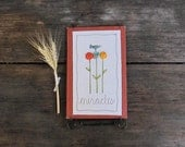 autumn home decor, floral illustration, bird, rustic orange, unique gift READY TO SHIP by mamableudesigns