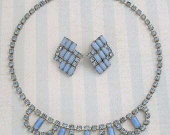 Vintage Milk Glass Wedding Necklace & Earrings
