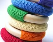Wooden Baby Teething Ring- WOOD n WOOL-  Natural Maple Wood Crochet Teething Ring Baby Toy- Rainbow Colors- You Pick