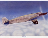 Vintage Airplane Print - Junkers Bremen - Luftwaffe - German Air Force  - WWII - Lithograph - Aeroplane