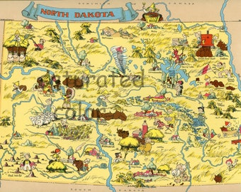 North Dakota Map ORIGINAL 9 X 13 Vintage 1930s Antique Picture Map - Ruth Taylor White - Bismarck Minot Fargo Grank Forks Williston Souveni