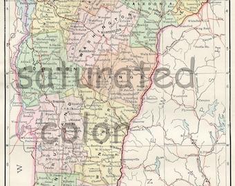Vermont Map - Original Antique Vintage 1895 Map of Vermont - Burlington - Colchester - Rutland - Barre - Montpelier
