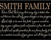 Beautiful 10x24 wooden board sign w Personalized last name with prayer