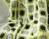 Crochet Afghan Purple Lavender Green Granny Square Blanket Throw - ReneeBrownsDesigns