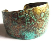 Hammered Brass Cuff Turquoise Verdigris Women Fashion Jewelry