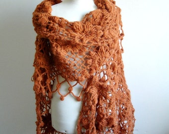 Brown,  cinnamon  Shawl By Crochetlab,   New Collecton ,  Mohair Triangle Shawl, Ready To Ship