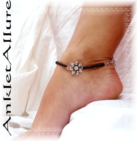 Gypsy Dark Elegance Rhinestone Anklet  Black Silver Ankle Bracelet