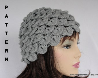 Crochet Hat Pattern, Crochet Beanie Pattern, Crocodile Stitch/  ZZ Top Inspired Beanie Cloche