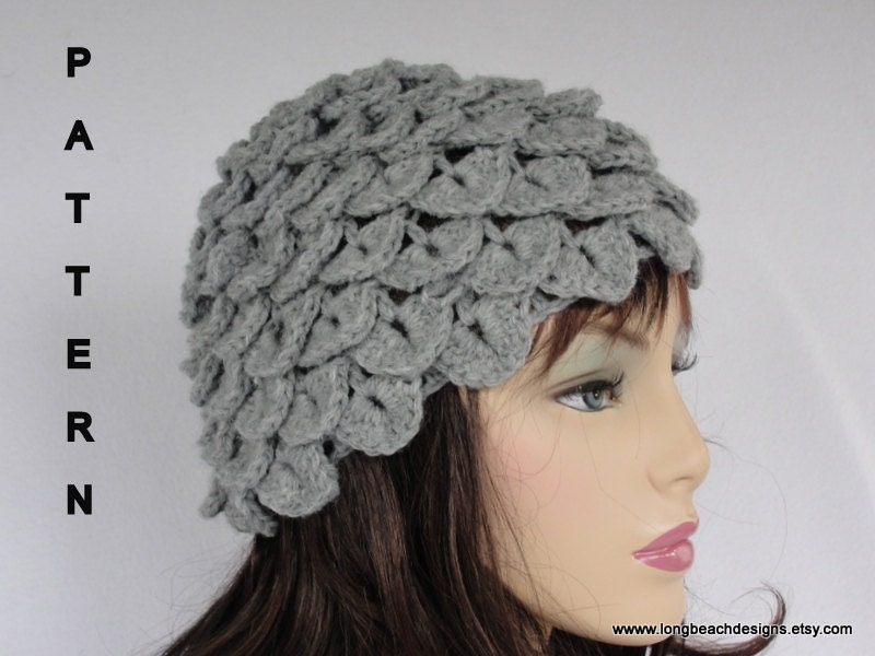 Crochet Beanie Pattern J Hook : Crochet Hat Pattern Crochet Beanie Pattern Crocodile Stitch/
