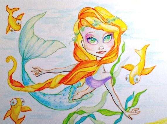 Koi Fish Mermaid Fantasy Big Eye Art Print 8.5 x 11