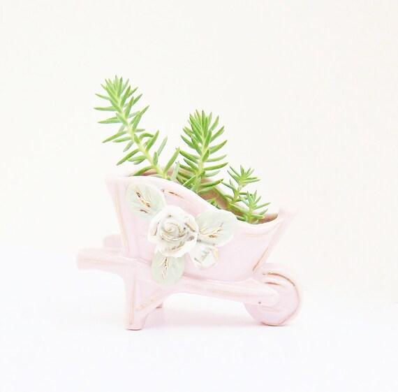 Vintage Tiny Mini Planter Vase Toothpick Holder Wheelbarrow Shabby Chic