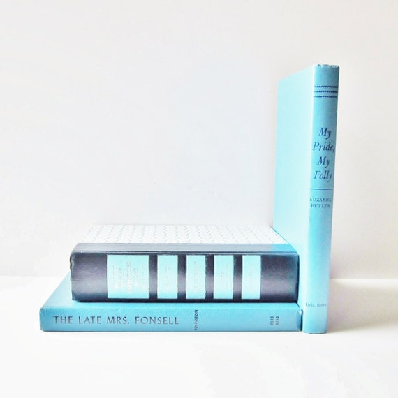 Turquoise Blue Vintage Books Interior Design Home Decor Instant Collection