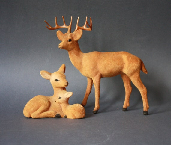 Vintage Velveteen Deer Family Figurines
