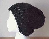 SALE  8 DOLLARS  / Black Slouchy Beanie  /  knit hat  /  oversize beanie  /  black hat  /  urban beanie / slouch hat  /  boho beanie