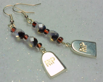 Halloween Earrings R.I.P. Headstone  Bead Earrings