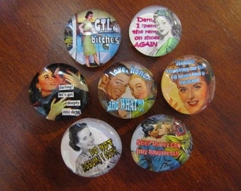 1950's HiLARIOUS HOUSEWiFE MAGNETS All About the ATTITUDE Glass Magnets