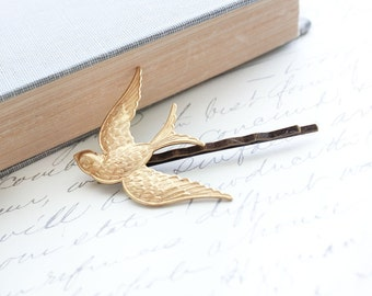 Bird Bobby Pin, Flying Bird, Gold Brass, Nature Hair Accessories, Modern Woodland, Flying Swallow Hair Pin