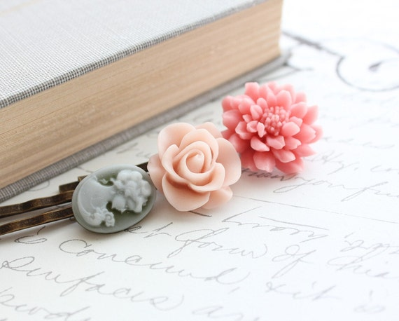 Flower Bobby Pins, Hair Accessories, Floral, Garden, Flowers for Hair, Pale Pink Rose, Coral Pink Chrysanthemum, Set of Three (3)