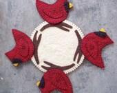 Wool Felt Cardinal Candle Mat
